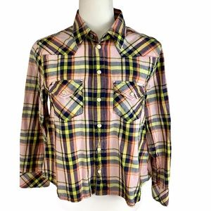 """MOTHER """"Twirl My Ex's"""" Plaid Snap Front Shirt SZ-S"""